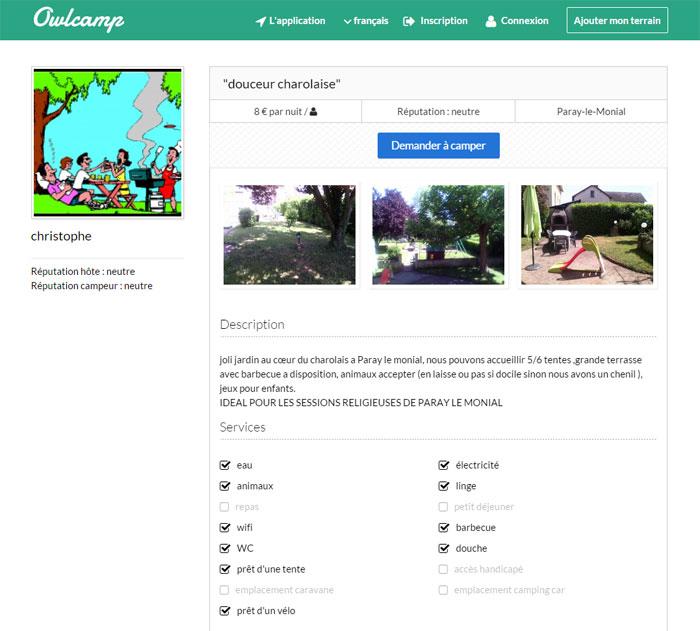 Exemple d'une fiche terrain sur le site Owlcamp
