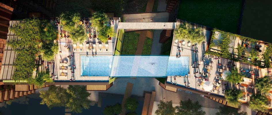 une incroyable piscine transparente suspendue dans le vide. Black Bedroom Furniture Sets. Home Design Ideas