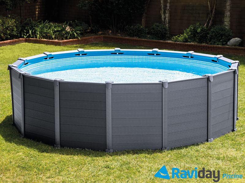 Piscine Intex Graphite, une piscine tubulaire tendance et résistante