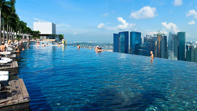 La plus haute piscine du monde blog de raviday for Singapour marina bay sands piscine