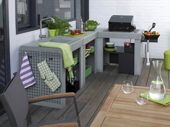 id es d 39 inspiration pour int grer un barbecue ou une. Black Bedroom Furniture Sets. Home Design Ideas