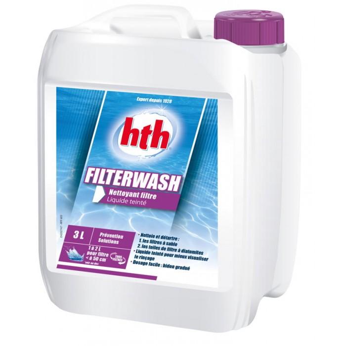Le produit Filterwash nettoie et détartre les filtres à sable. Le liquide est coloré en violet pour mieux visualiser le rinçage.