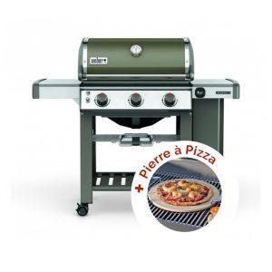 Promo Barbecue à gaz Weber Genesis 2 E-310 GBS Smoke Grey + Pierre à pizza